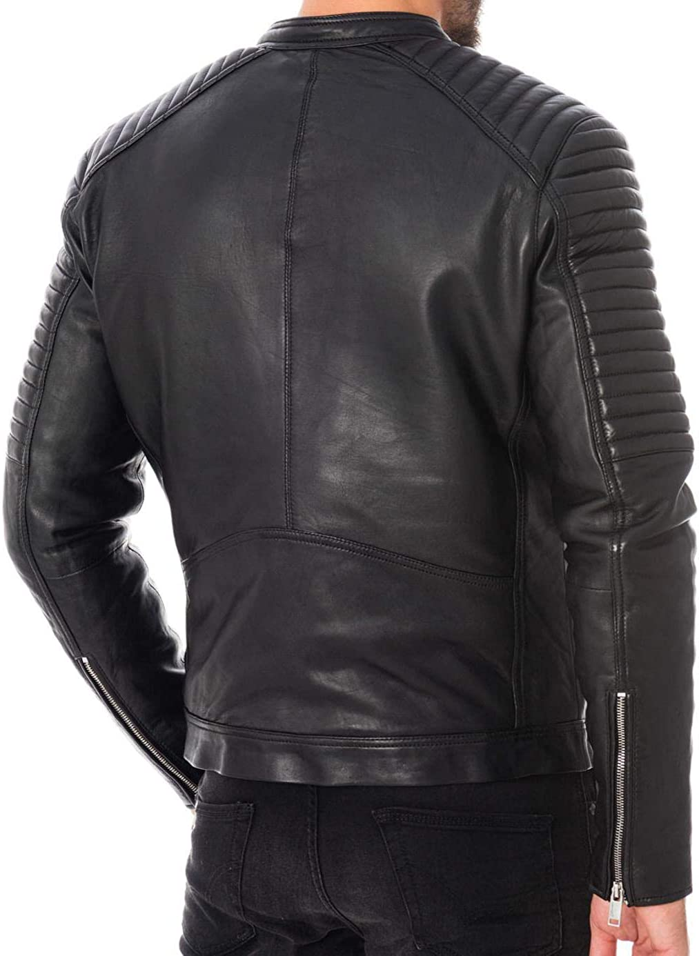 Ayesha Mens Leather Jackets Motorcycle Bomber Biker Genuine Lambskin 222