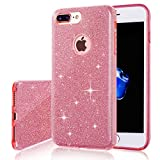 iPhone 7 Plus Case, Milprox SHINY GLITTER CASE [Bling Crystal Clear][Extremely Sparkly], Slim Premium 3 Layer Hybrid, Anti-Slick/ Protective/ Soft Case, iPhone 7 Plus Case-Pink