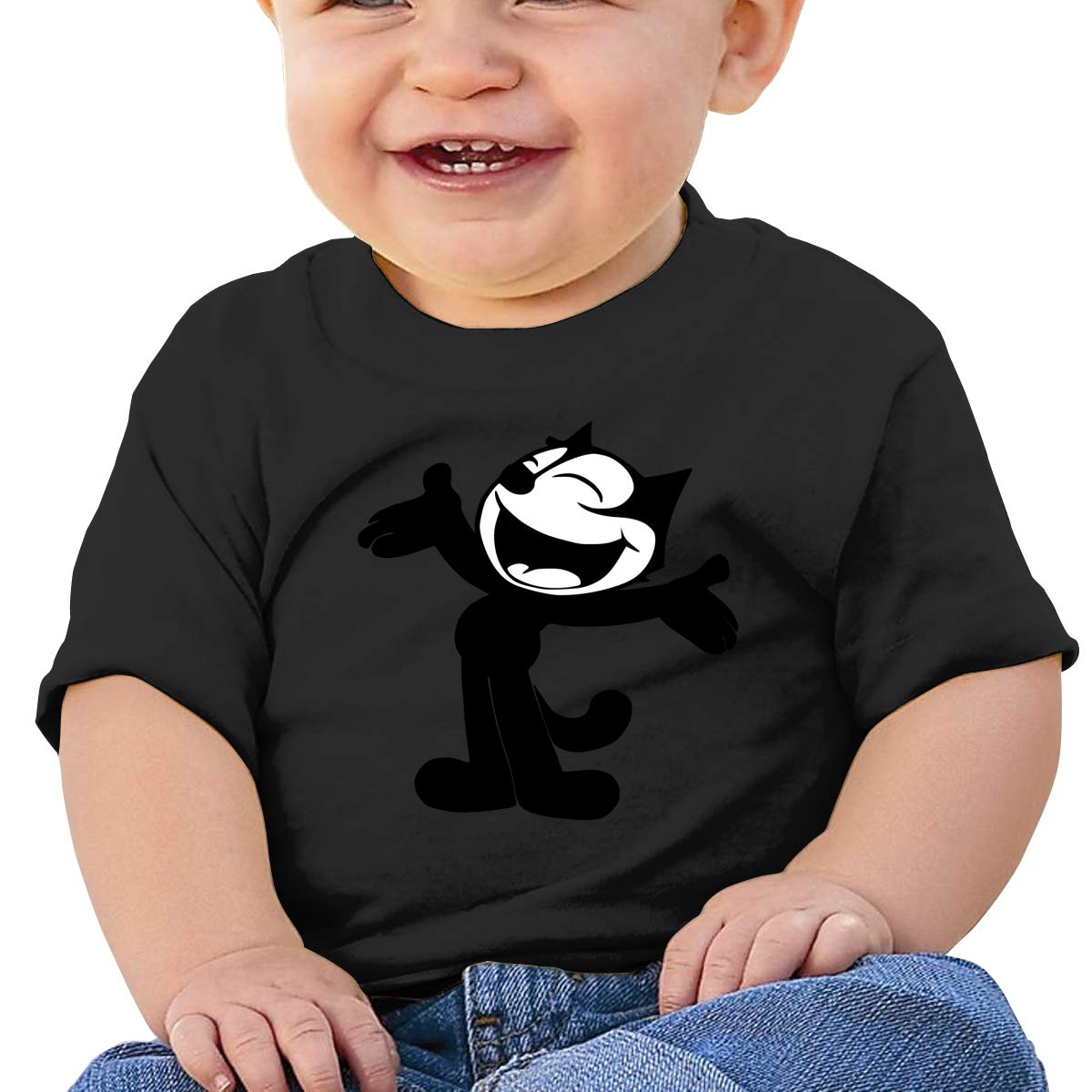 Boys Girls Shirts Smart Felix The Pussy Cat Baby Tees Black Tank Top for Kids