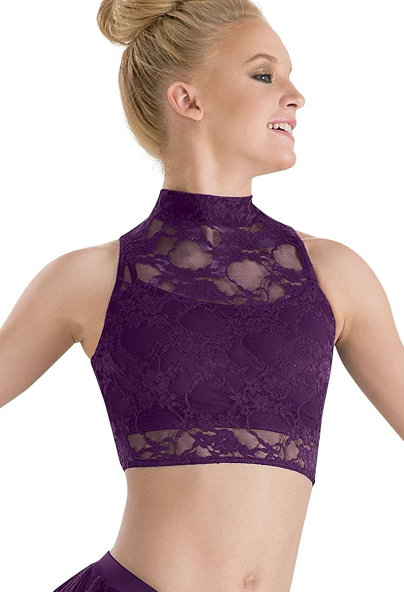 4b803c91cede25 Amazon.com  Balera Dance Lace Crop Top Mock Neck Sleeveless  Clothing