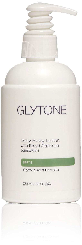 Glytone Daily Body Lotion Broad Spectrum SPF 15 with Glycolic Acid & Shea Butter, Retexturizing Moisturizer, Fragrance Free, 12 oz.