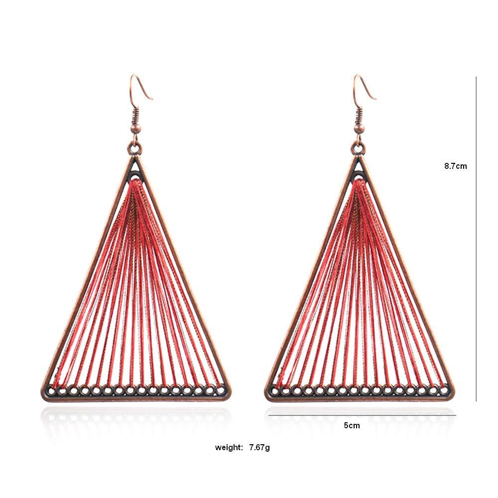 Zuzu Women Alloy Metal Big Geometric Triangle Multicolor Woven Yarn Drop Earrings