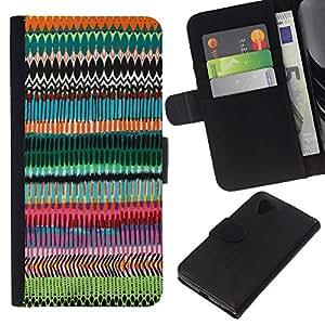 WINCASE Cuadro Funda Voltear Cuero Ranura Tarjetas TPU Carcasas Protectora Cover Case Para LG Nexus 5 D820 D821 - patrón azar arte chevron