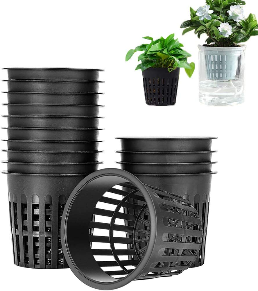 50 PCS 3 Inch Hydroponic Cups,Garden Plastic Slotted Mesh Net Cups Pots,Plant Nursery Net Pots for Hydroponics,Slotted Mesh(Black)