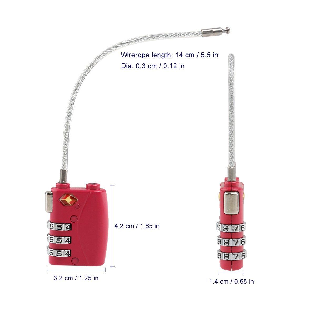 Noir nuolux TSA Approuv/é s/écurit/é C/âble bagages Cadenas Combinaison de 3/chiffres Password Lock Padlock 4/Pack