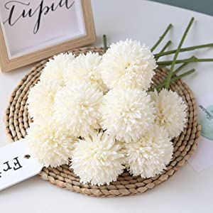 Homyu Artificial Flowers Chrysanthemum Ball Flowers Bouquet 10pcs Present for Important People Glorious Moral for Home Office Coffee House Parties and Wedding(Milk White)