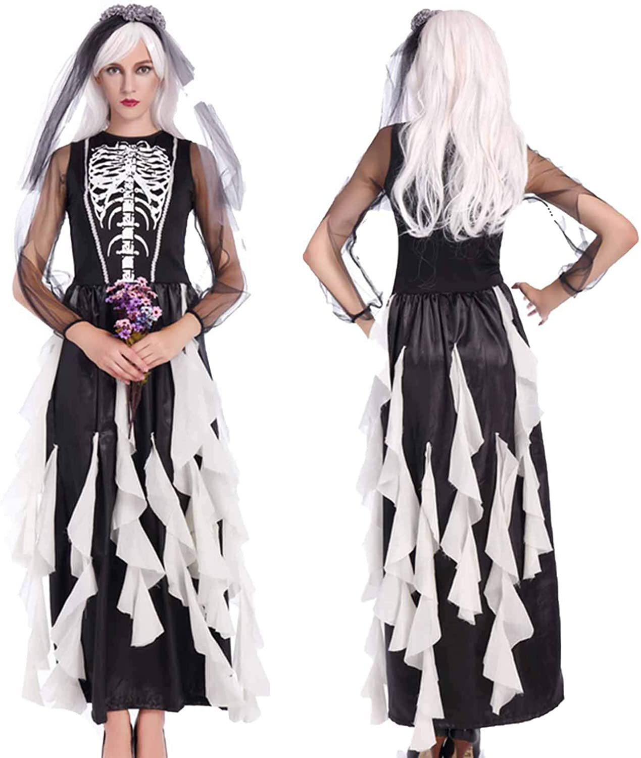 Ladies Corpse Bride Costume Halloween Womens Fancy Dress Outfit