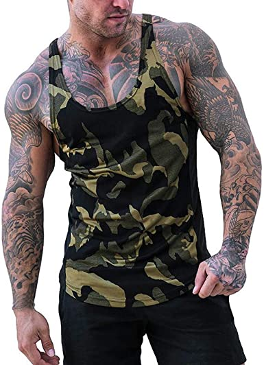 COOL NEW PRINT MILITARY STYLE COTTON SLEEVELESS MUSCLE T SHIRT ARMY OLIVE