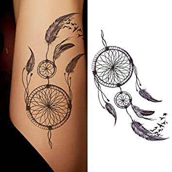 60340b9ea Amazon.com : Bluelans Dreamcatcher Temporary Tattoos Fashionable Fake  Tattoos Removable Waterproof Body Art Tattoo Stickers for Women Teens Girls  (Dream ...