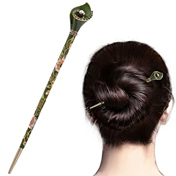 8b1f730c3 Amazon.com : Chinese Traditional Elegant Hairpins Hair Pin Stick Fashion Long  Hair Accessory Decorative for Women Girls (A-Green) : Beauty