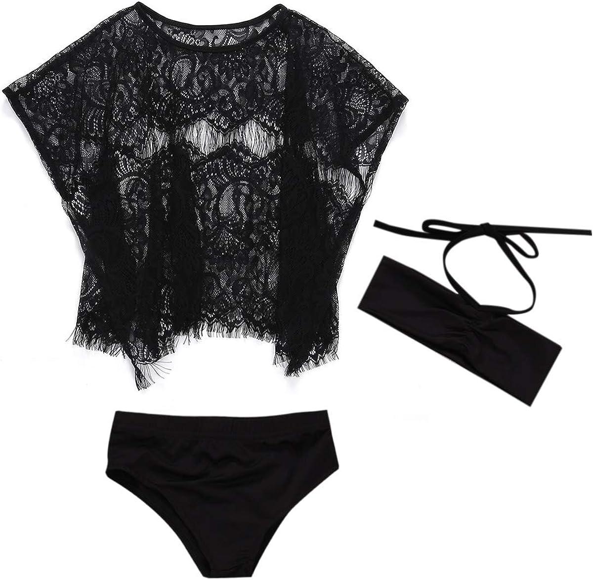 Bottom+Mesh Lace Cover Up Sets Beach Wear 3 pcs Swimwear Little Girls Bikini Top
