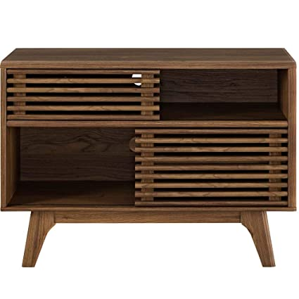 Modway Render Mid Century Modern Two Tier Display Stand In Walnut Renewed