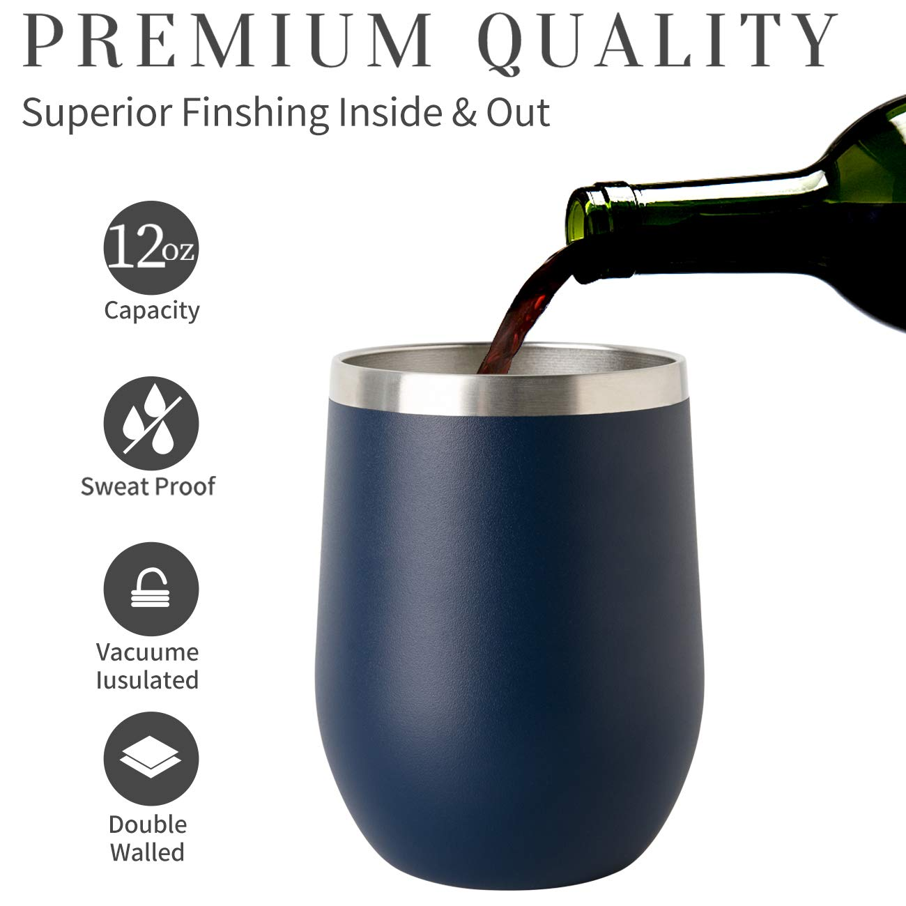 ONEB Stainless Steel Wine Tumbler with Lid, 12 OZ | Double Wall Vacuum Insulated Travel Tumbler Cup for Coffee, Wine, Cocktails, Ice Cream Cup With Lid (Navy, 12OZ-8pack) by ONEB (Image #4)