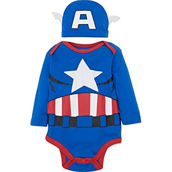 Marvel Captain America Baby Boys Costume Long Sleeve Bodysuit And