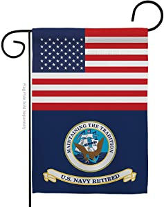 Navy US Retired Garden Flag Armed Forces USN Seabee United State American Military Veteran Retire Official Small Decorative Gift Yard House Banner Double-Sided Made in USA 13 X 18.5