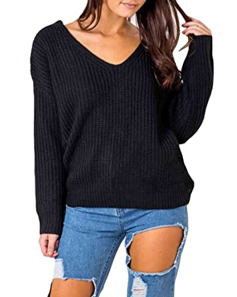 c6426f031a85 Anself Women s Lace Up Knitted Pullover Casual Loose Long Sleeve V Neck  Sweater Shirt Jumper Tops at Amazon Women s Clothing store