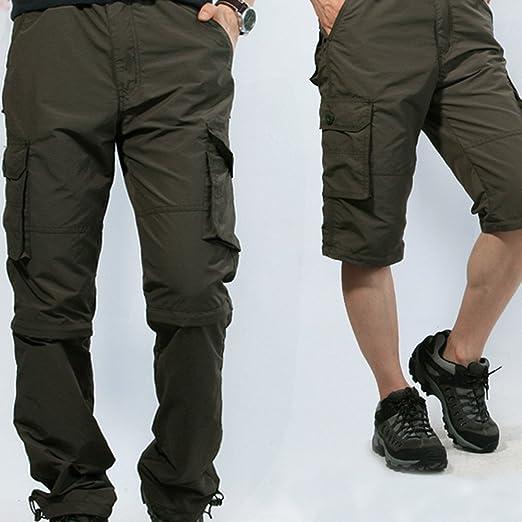 9aadd4b3a2 Hoplsen Hombre Pantalón Aire Secado rápido Casual Pantalones Suelto  Extraíble Mono Deporte Senderismo Camping Turismo Resistente al ...