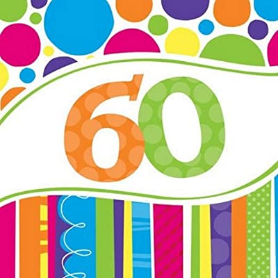 Creative Converting 18 Count Bright and Bold 60th Birthday Lunch Napkins: Kitchen & Dining