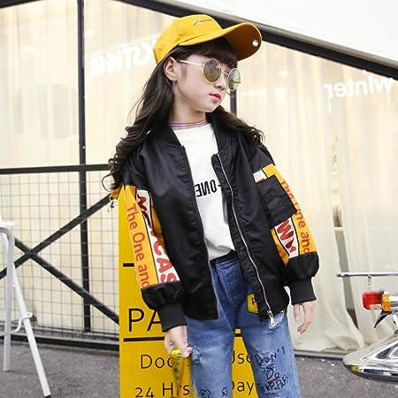 XING GUANG Mädchen Herbstjacke Koreanische Mädchen Brief Baseball-Uniform  Kinder Kurze Jacke,Black( dd0166d527