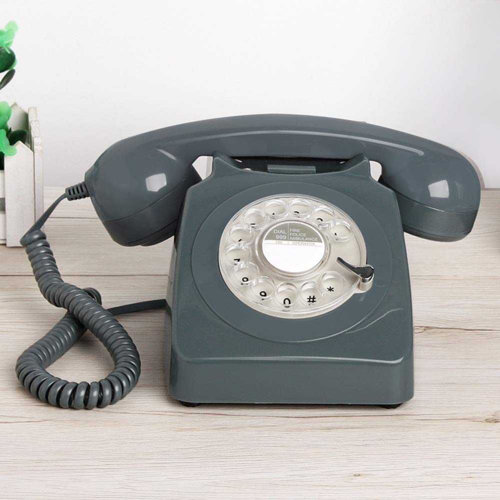 Vintage Classic Rotary Phone Rotating Retro Phone Antique Home Office Hotel Fixed Landline Metal Bell,Gray by Telephone