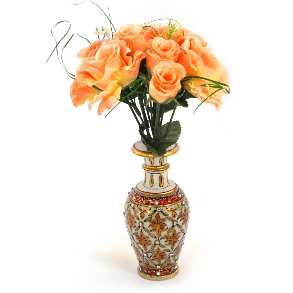 Buy little india jaipuri gold painting meenakari marble flower buy little india jaipuri gold painting meenakari marble flower vase 372 white online at low prices in india amazon reviewsmspy