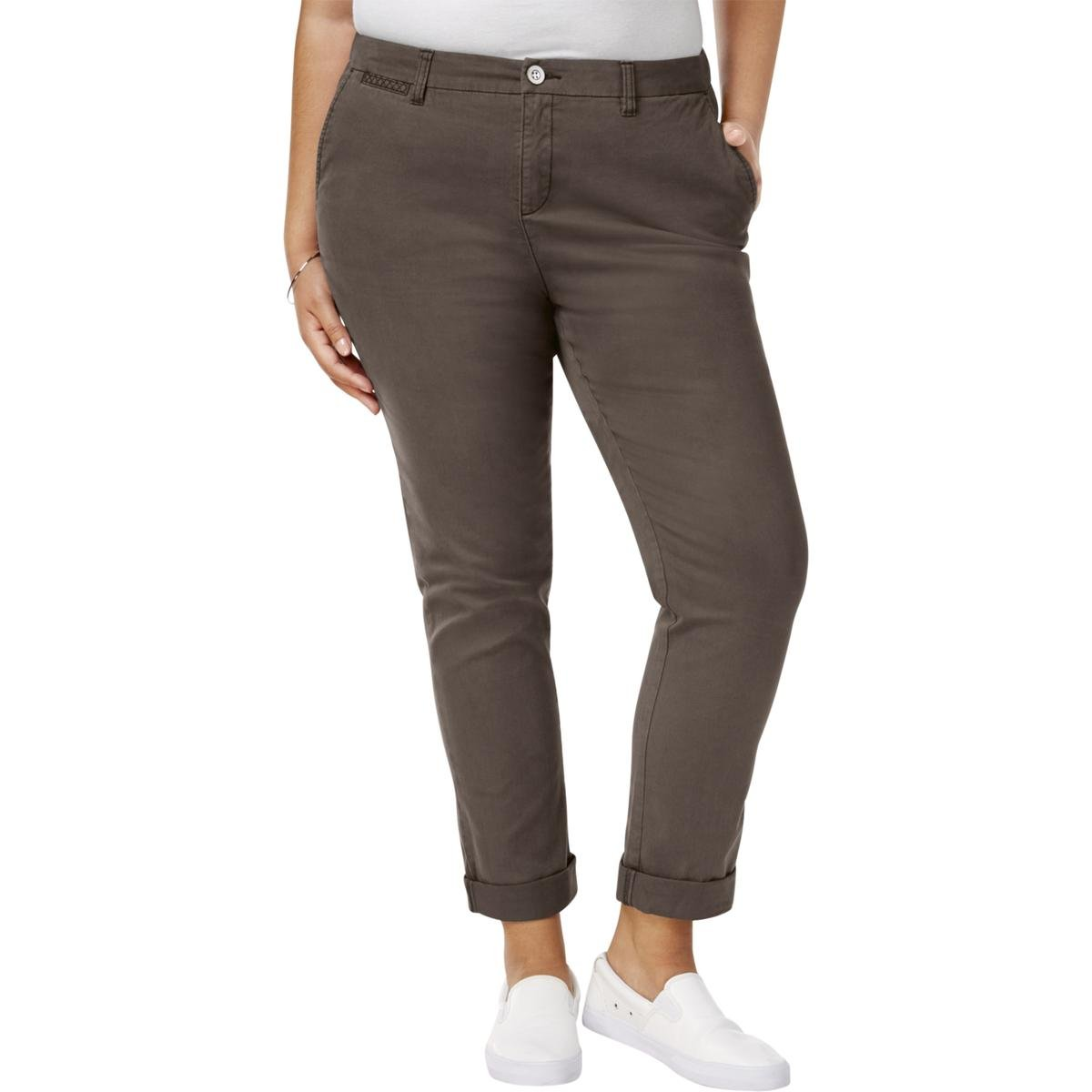 Style & Co. Womens Plus Twill Embroidered Cropped Pants Brown 14W