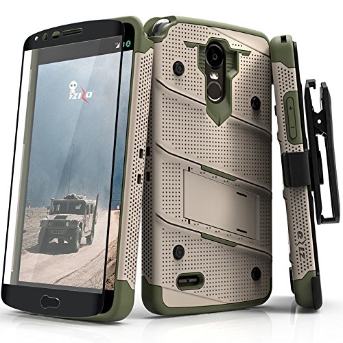 Zizo Bolt Series Compatible with LG Stylo 3 Case Military Grade Drop Tested with Tempered Glass Screen Protector, Holster, Kickstand TAN CAMO Green