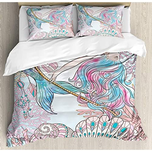 Cheap LAMANDA Full Size Mermaid Luxury Soft Duvet Cover Set, Cartoon Mermaid in Sea Sirens of Greek Myth Female Human with Tail of Fish Image, 4 Piece Bedding Set with Pillow Shams, Pink Blue supplier