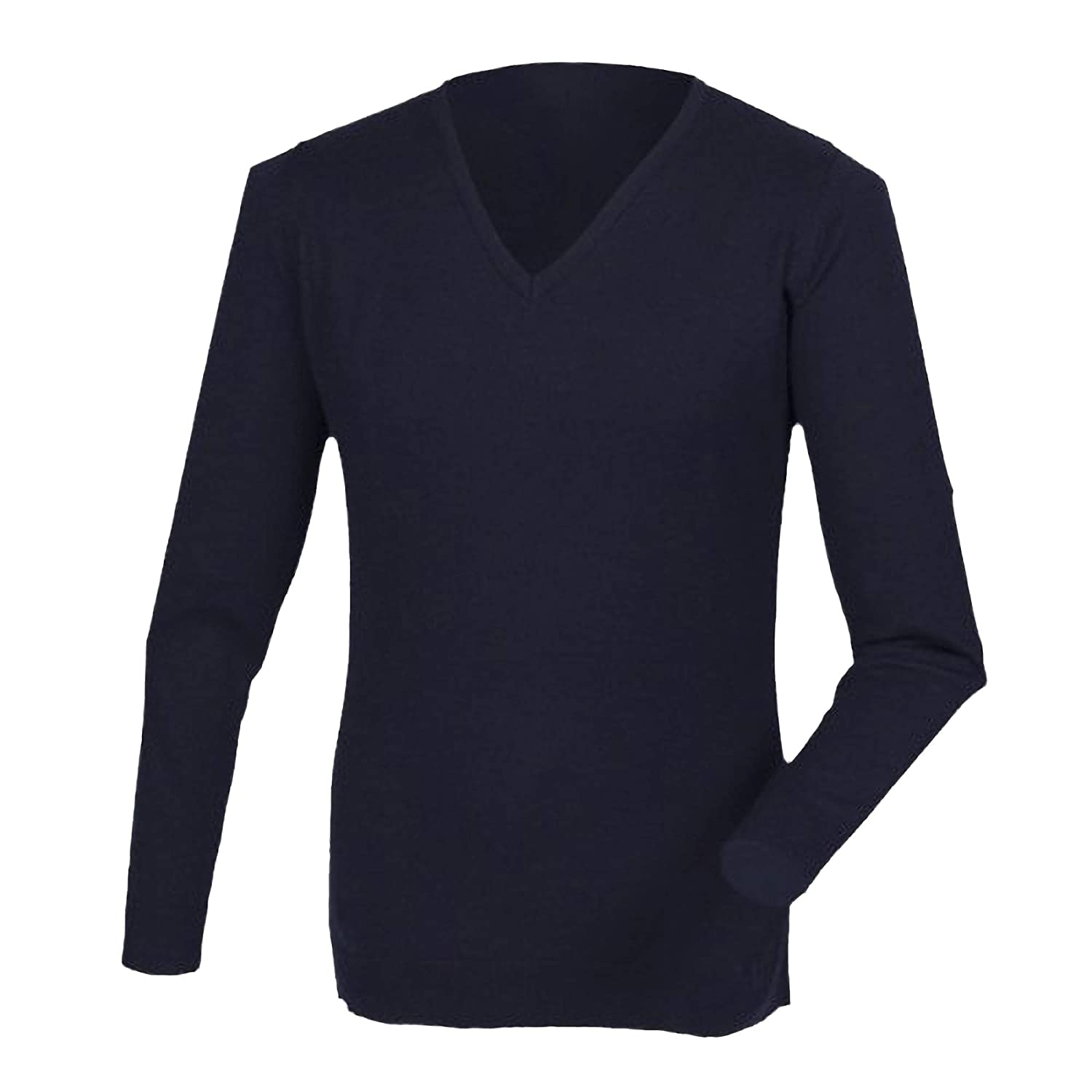 Henbury Mens Cashmere Touch Acrylic V-Neck Jumper//Knitwear