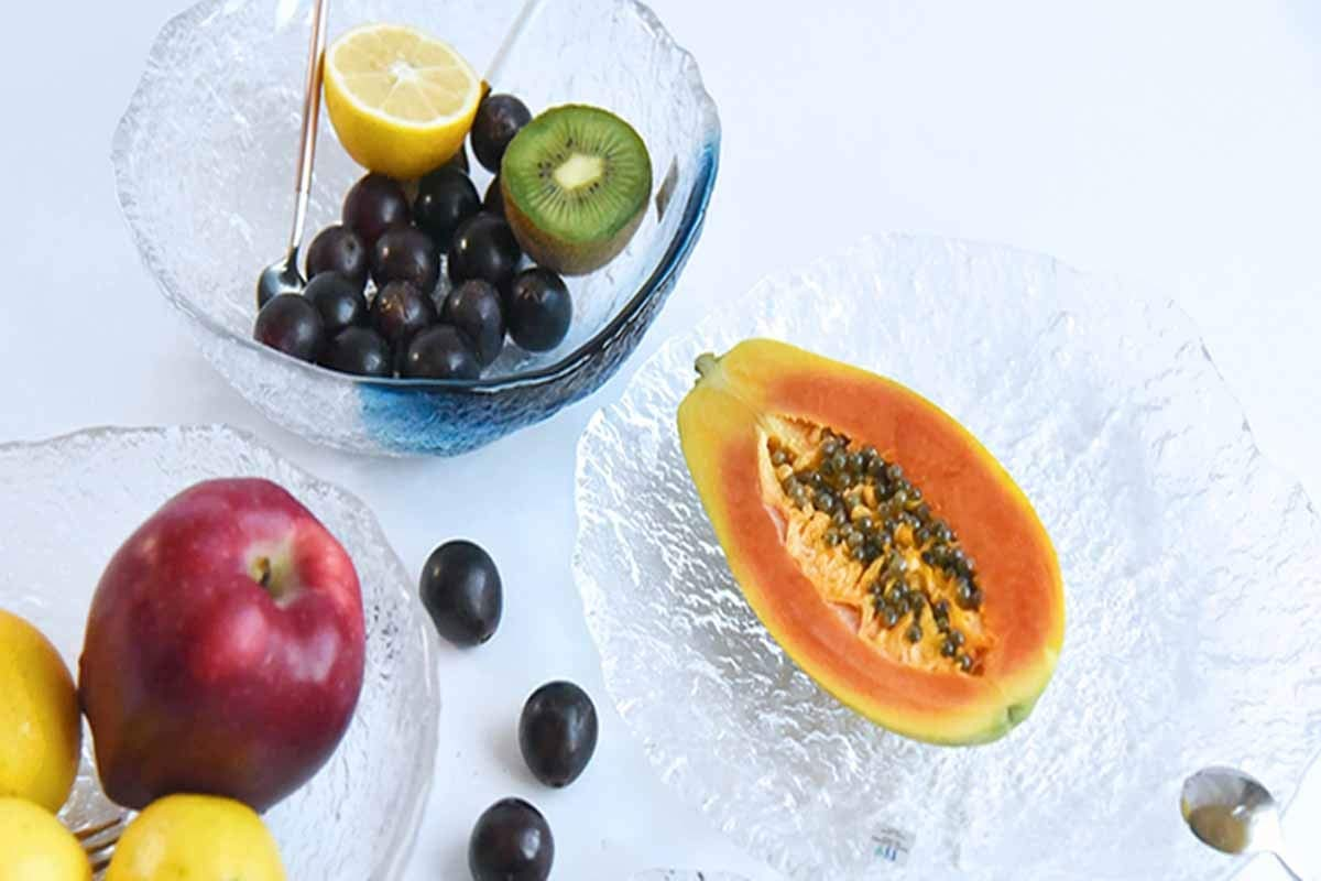 Jinnuotong Fruit Plate 16cm Color : 1 Large Diameter Home Traditional Modern Style Transparent Thick Glass Fruit Plate Transparent Blue 16cm elegant
