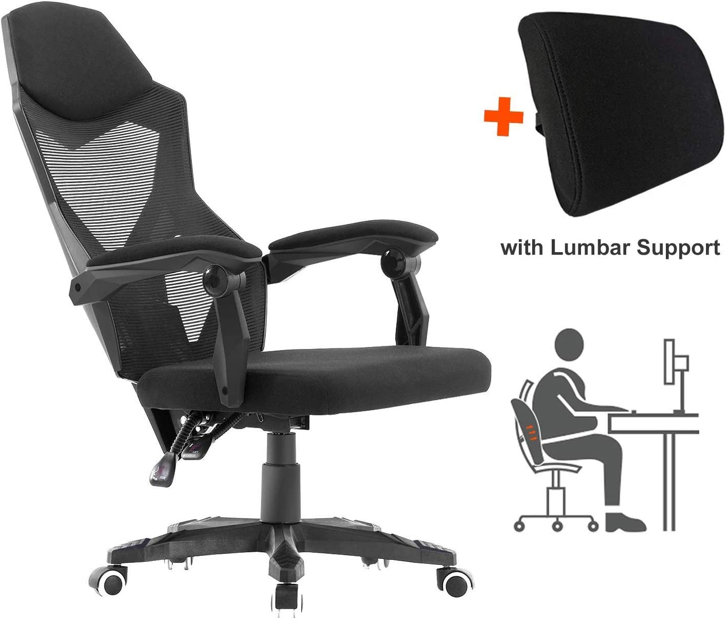 HOMEFUN Ergonomic Office Chair, High Back Adjustable Desk Task Chair with Armrests Black with Lumbar Support