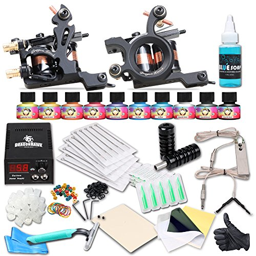 Dragonhawk Complete Tattoo Kit 2 Coils Tattoo Machines Shader Machine Liner Machine Power Supply Immortal Inks Needles Grips Tips 2-5 ()