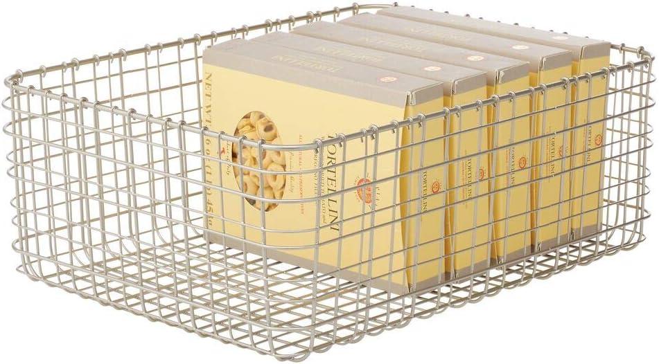 mDesign Farmhouse Decor Metal Wire Food Organizer Storage Bin Basket for Kitchen Cabinets, Pantry, Bathroom, Laundry Room, Closets, Garage - 16