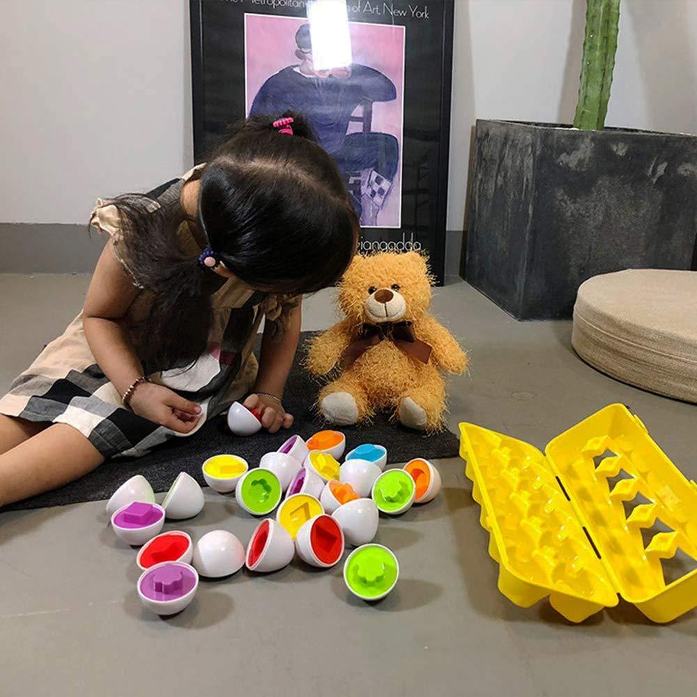 homese Kinder p/ädagogische Spielwaren Ei passende Paarung Weisheit intelligente Ei Kapsel Farbe Form erkennen Bl/öcke