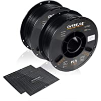 OVERTURE PLA Filament 1.75mm with 3D Build Surface 200mm × 200mm 3D Printer Consumables, 1kg Spool (2.2lbs), Dimensional Accuracy +/- 0.05 mm, Fit Most FDM Printer, Black, 2-Pack