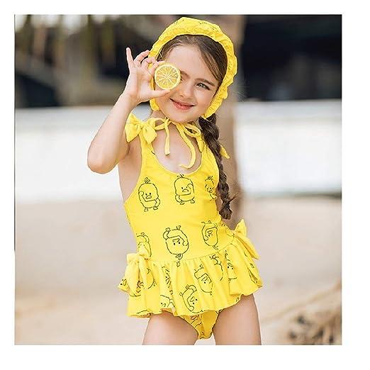 ACAO Traje de baño pequeño Amarillo para niñas con diseño de ...
