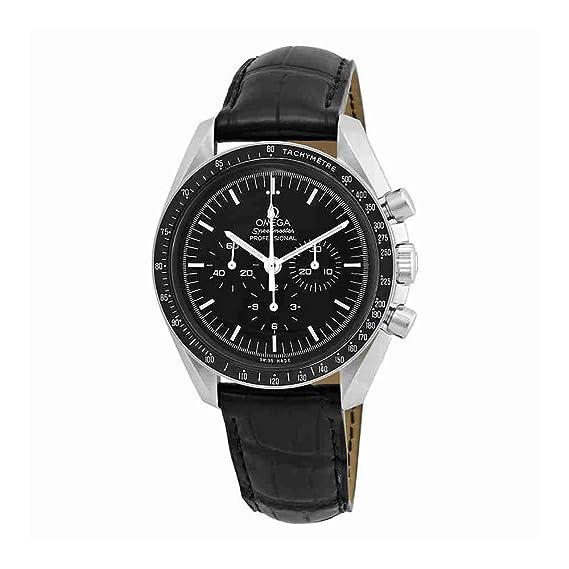 Omega Speedmaster Cronógrafo Negro Dial Negro Cuero Mens Reloj 31133423001001