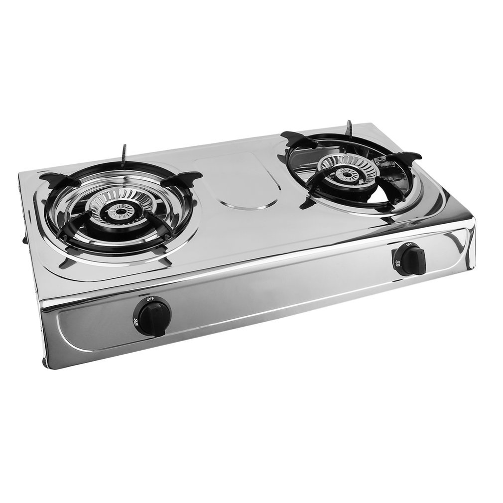 OUTAD Portable Propane Gas Stove Double Burner Stove, Household and Outdoor Stainless Steel Furnace Cooking Stove, Durable Advanced Camping Cooker Comcastle
