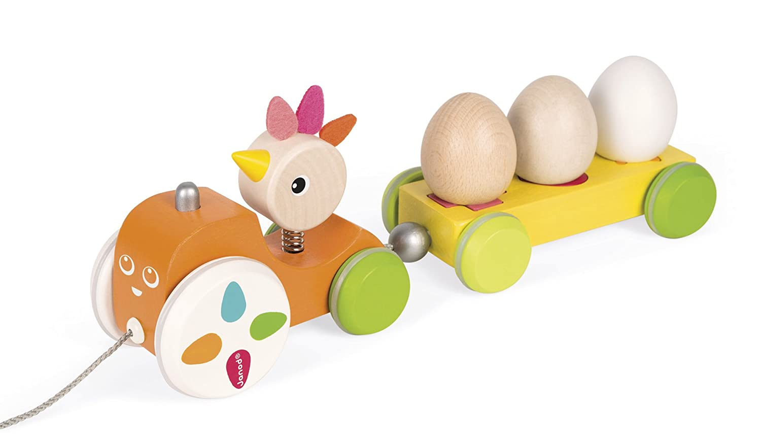Janod Zigalos Pull Along Tractor Hen Baby Toy
