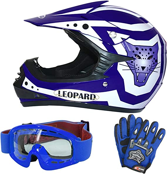 Leopard Leo X17 Blau Kinder Motorrad Helm M 51 52cm Handschuhe M 6cm Zorax Brille Kinder Motorradhelm Full Face Mx Helmet Mädchen Jungen Dirt Bike Auto