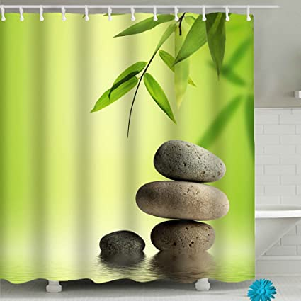 Bamboo Pebble Bathroom Shower Curtain Sets Waterproof Decor 71 X Polyester Fabric