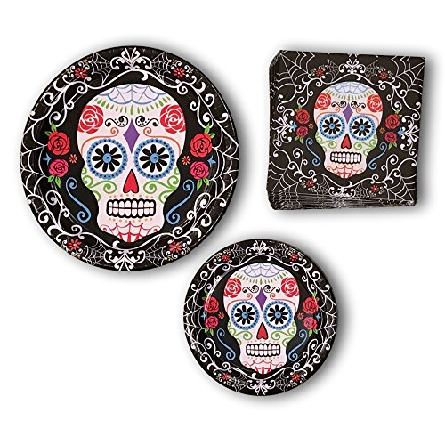 Halloween Skull Skeleton Paper Plates and Napkins Party Bundle - Day of the Dead Party Pack Includes Disposable Dinner Plates - Dessert Plates and Napkins