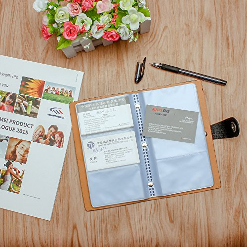 ELOKI Leather Credit Card Holder Book Business Credit Card Organizer Name Card Holder Book Style ID Card Organizer Credit Card Holder Case for 300 Business Cards, Credit Cards and Driver License-Black Photo #6