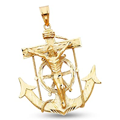 Amazon mariner crucifix charm solid 14k yellow gold jesus mariner crucifix charm solid 14k yellow gold jesus anchor pendant polished large mens 66 x 63 aloadofball Choice Image