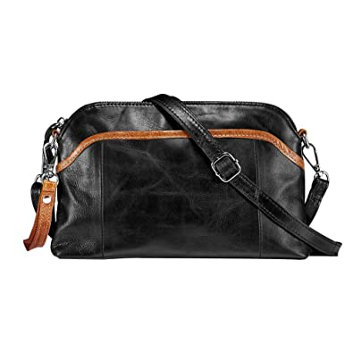 Lecxci Small Women s Soft Vintage Leather Crossbody Travel Smartphone Bag  Wristlets Clutch Wallet Purse (Black c88321cd992f8