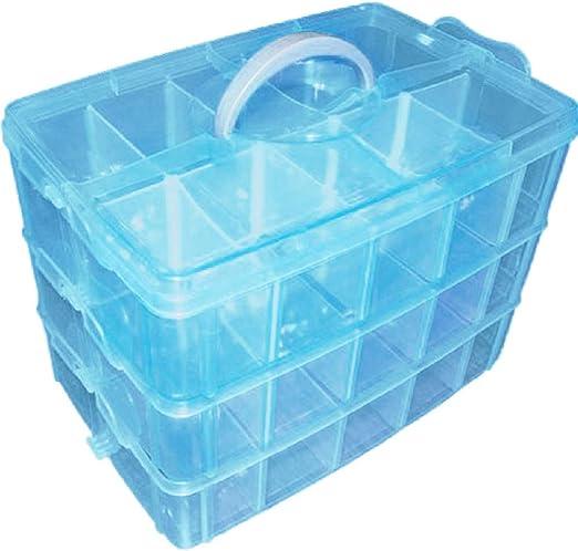 Yardwe Caja Almacenamiento 3 Niveles plástico Ajustable maletín Organizador con 30 Compartimentos (Azul): Amazon.es: Hogar