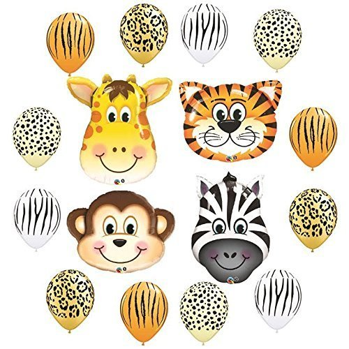 Safari Jungle Zoo Animals Jumbo Balloons Zebra, Tiger, Giraffe & Monkey and 12 pc Safari 11'' Latex Mix by Anagram