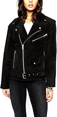 World of Leather Womens Moto Suede Leather Jacket Biker