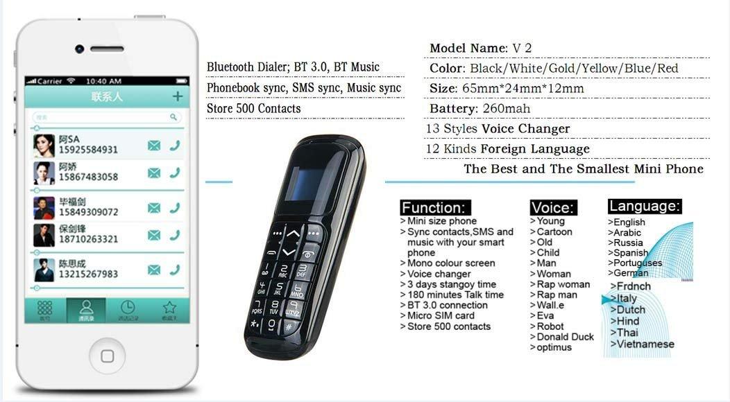 Long CZ V2 3 en 1 El teléfono más pequeño del Mundo Teléfono con Bluetooth Bluetooth para Auriculares Tarjeta Micro SIM 18 Gramos (Dorado)