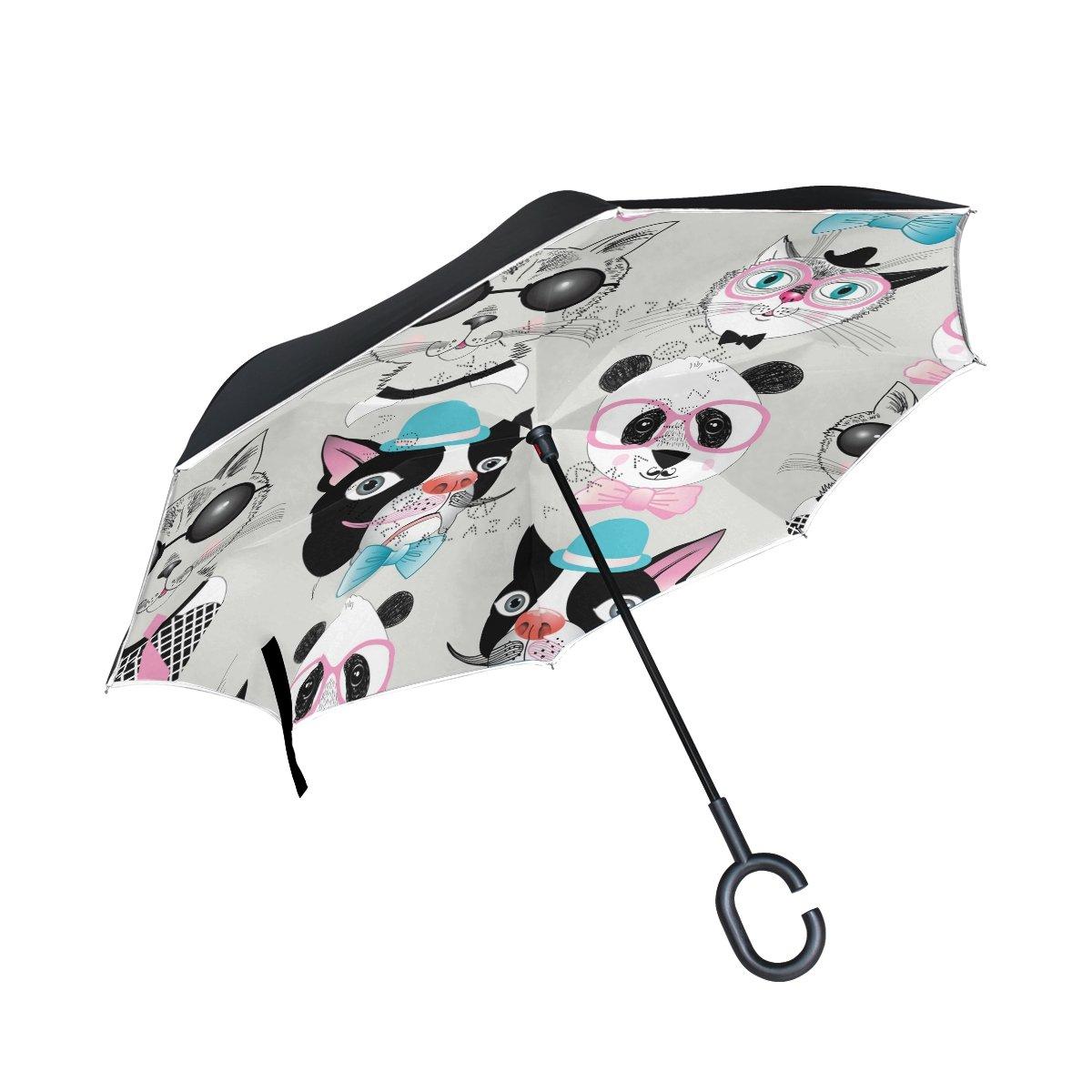 TIZORAX Hipster Chien Chat Panda Portraits inversé double couche droites parapluies sur l'envers réversible Parapluie avec poignée en forme de C pour la pluie Soleil de voiture Utilisation